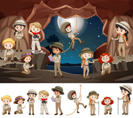Scene with many kids in the cave illustration