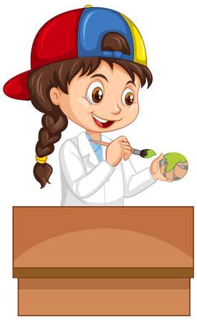 Girl painting paper ball green illustration