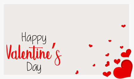 Valentine theme with red hearts on white