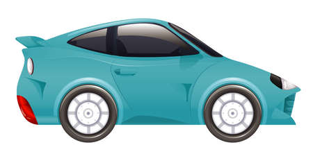 Racing car in blue color on isolated