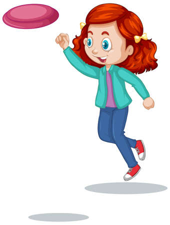 Red hair girl playing flying board on white