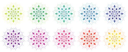 Mandala patterns in many colors illustration Çizim