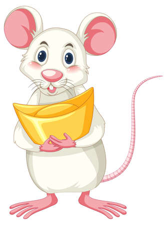 White rat holding gold on white