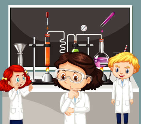 Classroom scene with science students doing lab illustration
