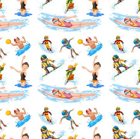 Seamless  design with different sports illustration Çizim