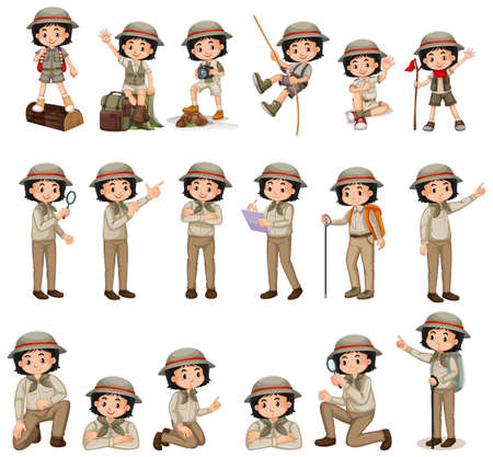 Girl in scout uniform doing different activities illustration