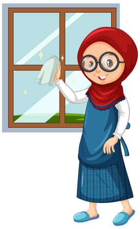 Muslim girl cleaning window on white Çizim
