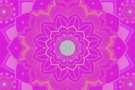 Mandala pattern on pink  illustration