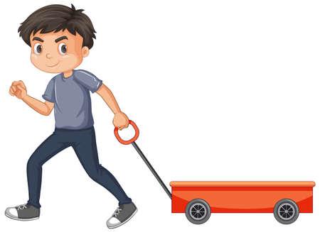 Boy pulling red wagon on white background illustration