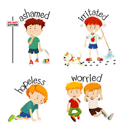 Adjective words with kid expressing their feelings illustration Illustration