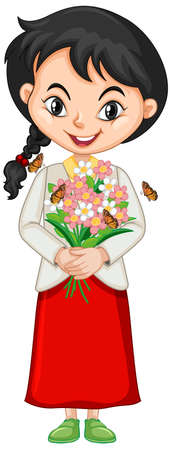Girl with flowers and butterflies on isolated   illustration