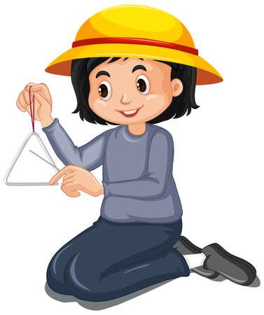 Glückliches Mädchen, das Dreieck auf weißer Hintergrundillustration spielt Vektorgrafik