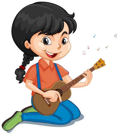 Fille jouant de la guitare sur fond isolé illustration