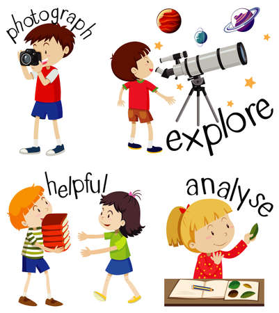 Set of children doing activities with action verbs illustration