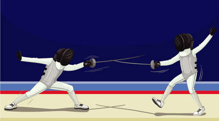 Scene with people fencing in the room illustration