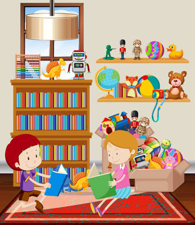 Scene with two kids reding book in the room illustration