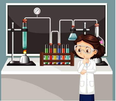 Classroom scene with science student doing lab illustration