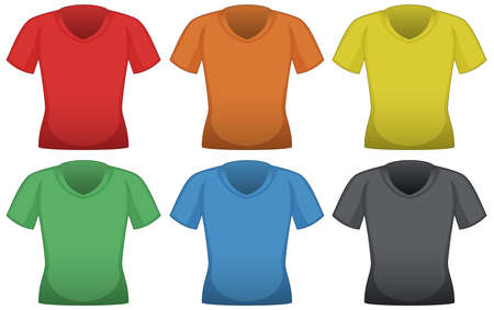 T-shirts in six different colors illustration