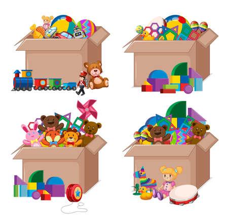 Set of boxes full of toys on white background illustration