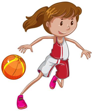 Athlete playing basketball on white illustration