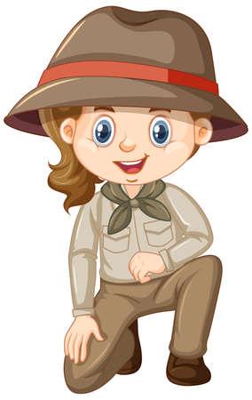 Girl in safari costume on white background illustration
