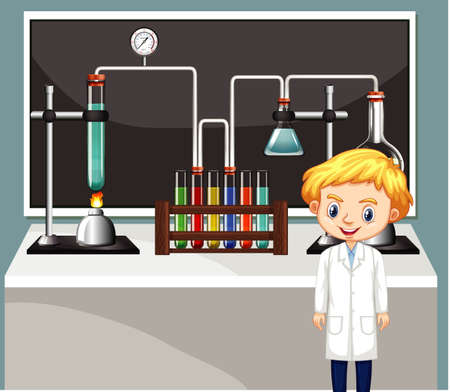 Scientist working in the lab illustration 矢量图像
