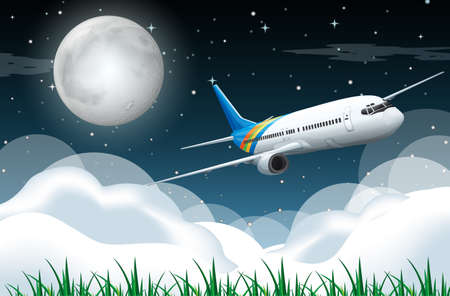 Scene with airplane flying in the night illustration