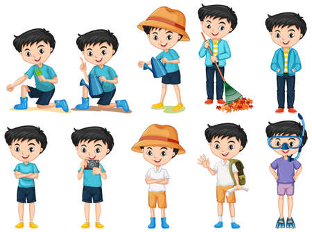 Set of happy boy doing different activities on isolated background illustration