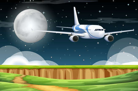Scene with airplane flying in the sky at night illustration