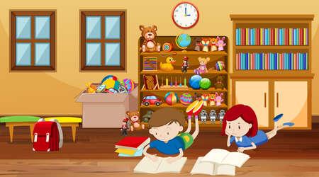 Scène avec des enfants lisant dans l'illustration de la chambre