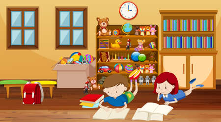 Scene with kids reading in the room illustration