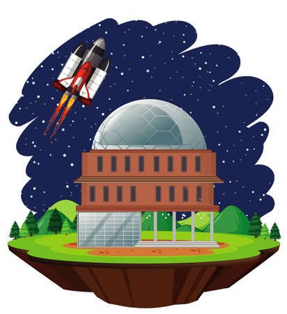 Scene with spaceship flying in the sky illustration
