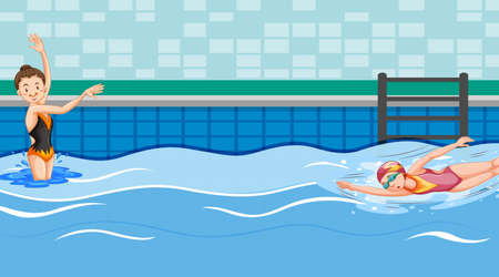 Scene with two swimmers in the pool illustration