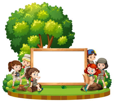 Blank sign template with kids in park at daytime illustration