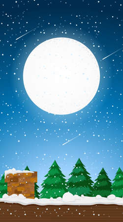 Scene with full moon in the sky illustration