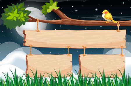 Wooden sign template with night sky background illustration