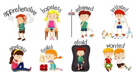 Satz von Kindern, die Aktivitäten mit Wort machen, das Gefühle ausdrückt Vektorgrafik