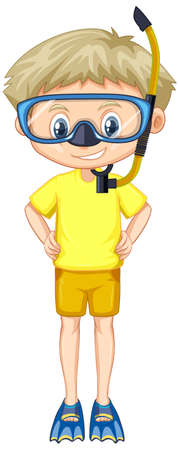 Boy in yellow shirt with snorkel and fins illustration