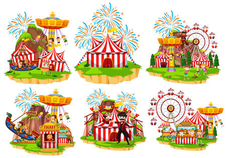 Six scenes of circus with people and rides illustration