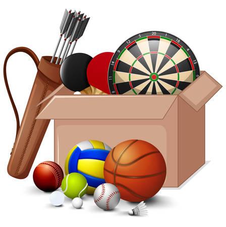 Cardboard box full of sport equipment's on white  illustration Illustration