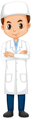 Muslim boy in science gown on isolated background illustration Archivio Fotografico - 137409257