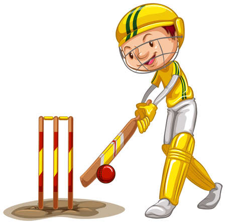 Athlete doing cricket on white