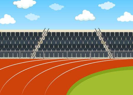 Background scene of running field with stadium illustration