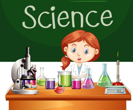 Scientist working in the lab illustration Ilustração