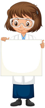 Science student holding sign on isolated background illustration