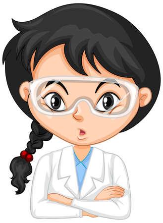 Ragazza in abito scientifico su sfondo bianco illustrazione Vettoriali