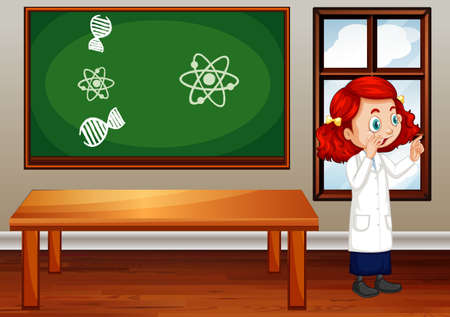 Classroom scene with science student inside illustration