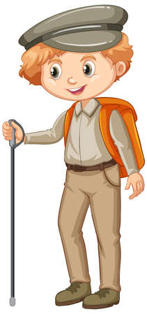 Boy in safari costume on white background illustration