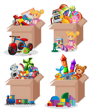 Set of boxes full of toys illustration