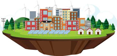 Scene with clean energy in the city illustration Ilustração